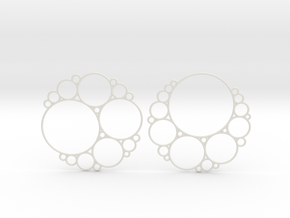 Bubbly Apollonian Earrings in White Natural Versatile Plastic