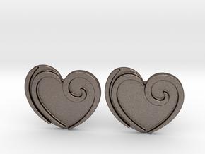 Custom Logo Cufflinks in Polished Bronzed-Silver Steel