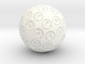 d60 Argam Sexagesimal Sphere Dice in White Processed Versatile Plastic