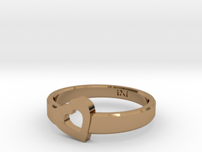 Simple Love Heart Ring - Size 5 in Polished Brass