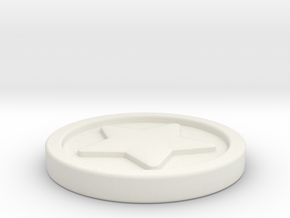 Star Styled Bell Coin in White Natural Versatile Plastic