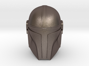 (The) Mandalorian Helmet | CCBS Scale in Polished Bronzed-Silver Steel