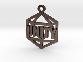 D20 Unity Pendant in Polished Bronze Steel