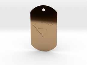 jor-el kandorian dog tag double sided in Polished Brass