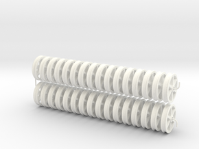 NRW01x32 Nantlle Railway Double Flange Wheels 16mm in White Processed Versatile Plastic