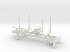 1/50th Mule Train 20' Short log pup trailer in White Natural Versatile Plastic
