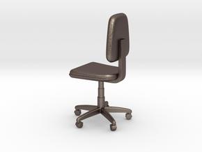 Office Swivel Chair in Polished Bronzed Silver Steel