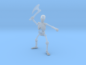 Skeleton with Axe 1 in Smooth Fine Detail Plastic