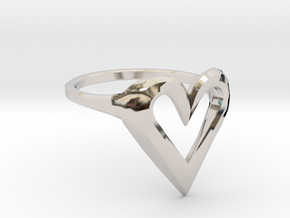 FLYHIGH: Skinny Heart Ring 15mm in Platinum