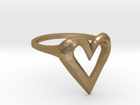 FLYHIGH: Skinny Heart Ring 15mm in Polished Gold Steel