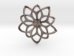 Flower Loops Pendant in Polished Bronzed Silver Steel