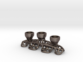 Arc Candle Holder (triple) in Polished Bronzed Silver Steel