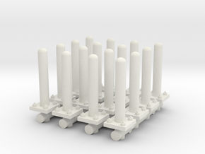 Safety Poles (x16) 1/72 in White Natural Versatile Plastic