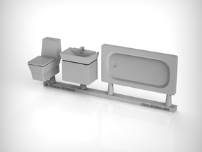 Bathroom Set 01. 1:48 Scale in Smooth Fine Detail Plastic