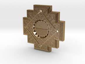 Inca Cross Amulet in Polished Gold Steel: Small