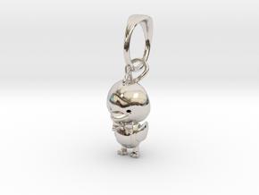 Ducky Pendant in Rhodium Plated Brass