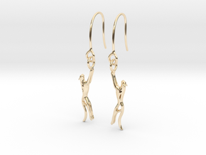 Snow leopard drop Earring in 14k Gold Plated Brass