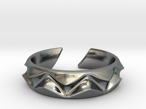 Shark teeth ring [sizabke ring] in Polished Silver