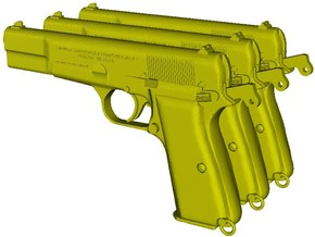 1/12 scale FN Browning Hi Power Mk I pistols A x 3 in Smooth Fine Detail Plastic