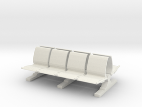 8 Waiting Room Seats 1/24 in White Natural Versatile Plastic