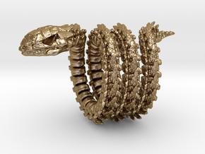 Skeletal Serpent Ring in Polished Gold Steel: 11.5 / 65.25