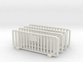 Crowd Control Barrier (x4) 1/64 in White Natural Versatile Plastic