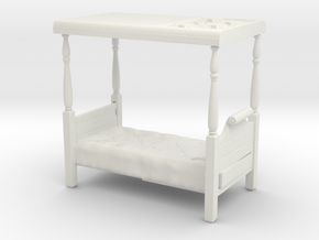 O Scale Four Poster Bed in White Natural Versatile Plastic