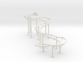 Very Small RBS Rolling Ball Sculpture Marble Run in White Natural Versatile Plastic