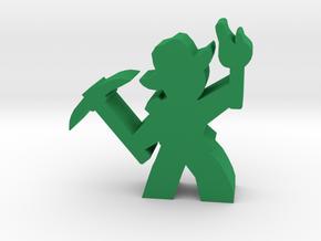 Guy Adventurer meeple, pick, torch, hat in Green Processed Versatile Plastic