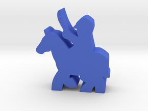 Civil War cavalry meeple, sword, running horse in Blue Processed Versatile Plastic