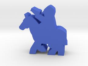 Civil War cavalry meeple, pistol, running horse in Blue Processed Versatile Plastic