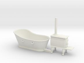 O Scale Copper Bathtub and Iron Stove in White Natural Versatile Plastic