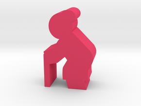 Old Lady meeple, side in Pink Processed Versatile Plastic
