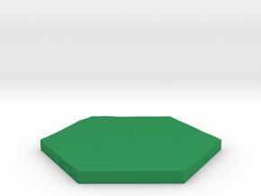 Grass terrain hex tile counter in Green Processed Versatile Plastic