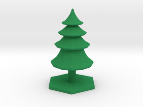 Conifer tree terrain hex tile counter in Green Processed Versatile Plastic