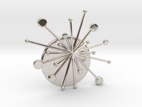 Atomic Starburst Tie Pin in Rhodium Plated Brass
