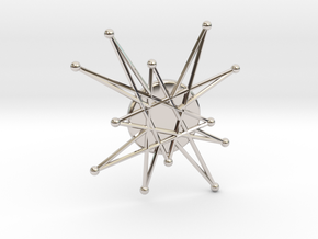 Atomic Starburst Tie Pin 2 in Rhodium Plated Brass