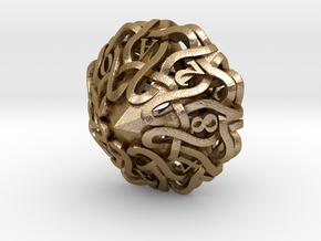 Hexadecimal Bitcoin Dice in Polished Gold Steel: Small