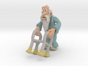 Old man and walker  in Full Color Sandstone