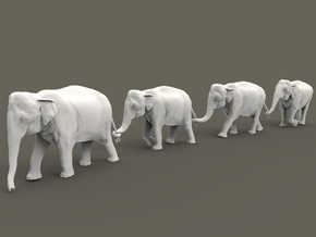 Indian Elephant Set 1:87 four different pieces in Smooth Fine Detail Plastic