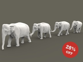 Indian Elephant Set 1:120 four different pieces in Smooth Fine Detail Plastic
