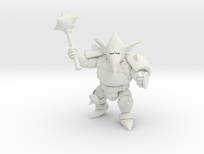 Armoured Goblin with Mace in White Natural Versatile Plastic