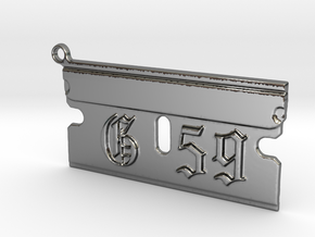 G59 Razor Blade Pendant Suicide Boys in Fine Detail Polished Silver