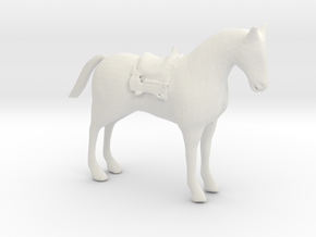 S Scale Saddle Horse in White Natural Versatile Plastic
