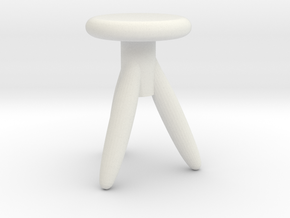 Miniature 1:24 Chair in White Natural Versatile Plastic: 1:24