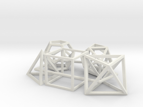5 Platonic Solids in White Natural Versatile Plastic