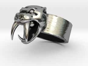 Angry Saber tiger Ring V01 in Antique Silver: Small