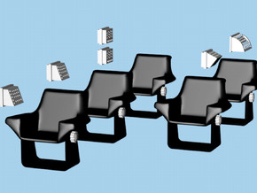 1/32 Shuttlecraft Chairs and Wall Consoles in White Processed Versatile Plastic