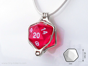 Dice Pendant - D20 - 18mm (cast) in Rhodium Plated Brass: Medium