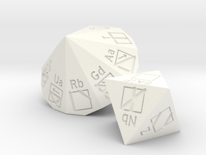 PLL d8 and d18 dice set in White Processed Versatile Plastic